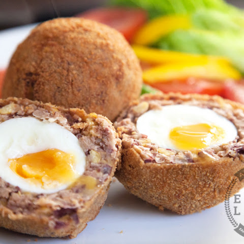 Vegetarian scotch eggs (with help from Andy Bates)
