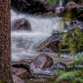 Lunch at Gore Creek by Allen Crenshaw - Painting All Painting ( waterfall, colorado, scenic, rocks, painting )