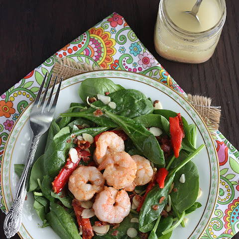 Grilled Shrimp and Spinach Salad with Hot Bacon Dressing