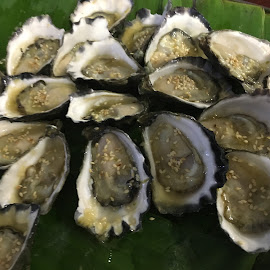 Oyster With Sesame Oil by Dawn Simpson - Food & Drink Plated Food ( seafood, posh, oysters, seafood sesame, expensive )