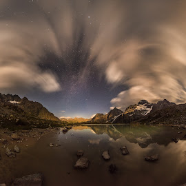 The Naur lake by Александр Агабабаев - Landscapes Starscapes ( beach clouds lake long exposure moon night reflection reflections sky water )