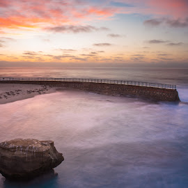 LaJolla Beach Pool by Dean Mayo - Landscapes Beaches ( sunset, beach, lajolla, dean mayo )