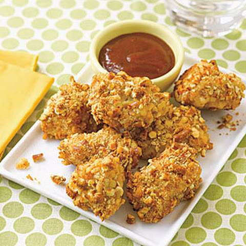 Pretzel Crusted Chicken Nuggets with Cheddar Dipping Sauce Recipe ...