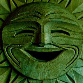 SUNNY by CRISTINA  CASTRO - Artistic Objects Other Objects ( sun  woodcarving smiley )