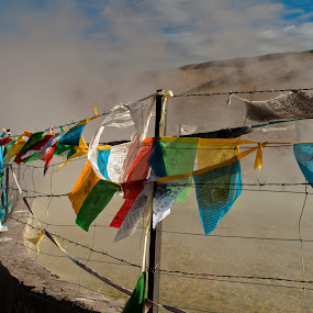 Hot Springs by Garrett Dyer - Landscapes Waterscapes ( prayer, fence, flags, tibet, hot springs, china )