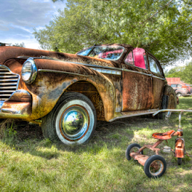 Oldies by Michael Buffington - Transportation Automobiles ( car, old, tricycle, grass, vintage, shadowed, rusty, antique )