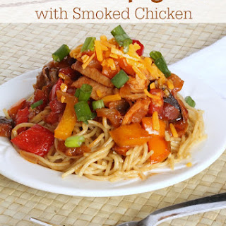 Barbecue Spaghetti with Smoked Chicken