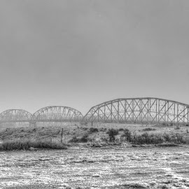 Black and white Wolf Point Bridge by Clint Whitmer - Buildings & Architecture Bridges & Suspended Structures ( thru-truss, structure, black and white, bridge, missouri river )