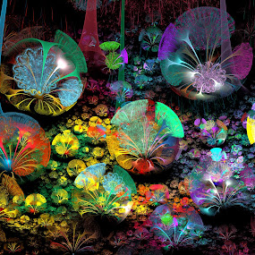 Fractal 3D Bubble Garden by Peggi Wolfe - Illustration Abstract & Patterns ( abstract, wolfepaw, unique, bright, fun, digital, bubble, apophysis, 3d, color, unusual, fractal, garden )