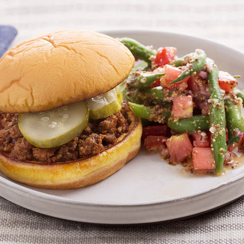 BBQ Sloppy Joes with Green Bean & Tomato Salad