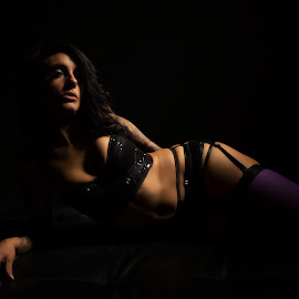 Hint of purple by Gary Bradshaw - Nudes & Boudoir Boudoir ( lingerie, shadows, stockings, low key, people )