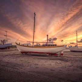 Han Herred Havbåde by Ole Steffensen - Transportation Boats ( han herred havbåde, jammerbugten, slettestrand, sunset, sea, beach, denmark )