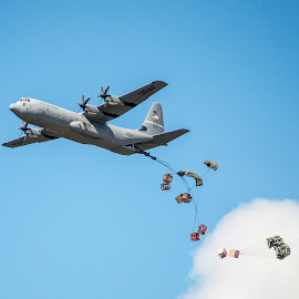 Drop by Brian Box - Transportation Airplanes ( air force, airplane, airdrop, aircraft, c-130 )