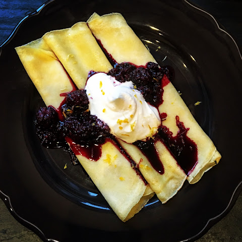 Crêpes with Oregon Marionberries reduced in a Red Bordeaux