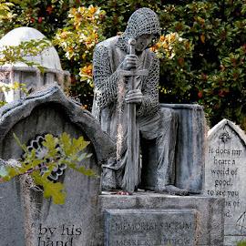 Kneeling knight by Liz Hahn - Public Holidays Halloween ( davis graveyard, oregon, portland, fall, halloween )