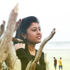 Watching Seasore by Snehashis Paul - People Portraits of Women ( #instamoment, #nikon, #instaphoto, #candid, #women, #beach, #seasore, #canon )