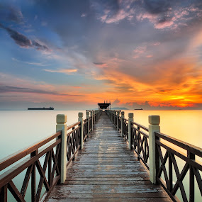 SUNSET TANJUNG PIAI JOHOR NATIONAL PARK by Fairuzee Ramlee - Landscapes Sunsets & Sunrises ( tip of mainland asia, sunset, sea, jetty, seascape, beach, mangrove )