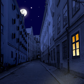 A night in Stockholm by Tony Mortyr - City,  Street & Park  Street Scenes ( night, city )