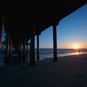 Get me in the mood by Edin Chavez - Landscapes Waterscapes ( sunset, california, pier, landscapes, huntington beach )