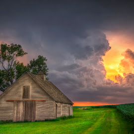 Summer in Nebraska by Ken Smith - Landscapes Cloud Formations ( barn, thunderstorm, landscape, nebraska )