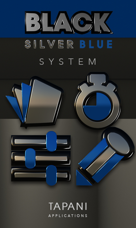 Black silver blue Icon Pack 3D Screenshot 3