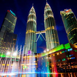 Fountain in front of Petronas by Biman Sarkar - City,  Street & Park  City Parks ( klcc, sky, petronas, malaysia, night sky, kl, kuala lumpur )