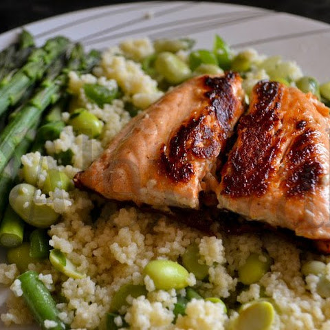 Pan Fried Salmon with Asparagus & Warm Couscous Salad