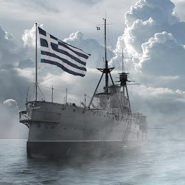 Γ. Αβέρωφ ( G. Averof ) by Jimmy Armanidis - Transportation Boats ( athens, grecce, greek flag, g.averof, averof )