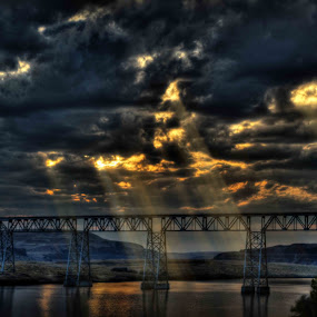 Train Bridge by Eric Demattos - Buildings & Architecture Bridges & Suspended Structures ( pwcstorm-dq, train bridge, storm clouds, bridge )