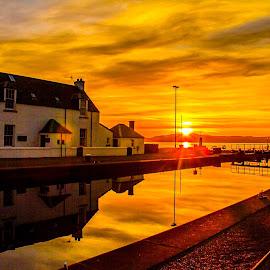 Caledonian Canal at sunset .  by Gordon Bain - Landscapes Waterscapes ( sunset, caledonian canal, inverness ., sea lock . )