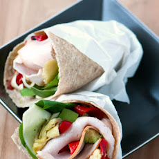 Turkey Avocado & Artichoke Wrap with Roasted Red Peppers