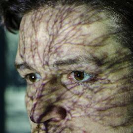 Projector LIght by Jon Feldman - People Body Art/Tattoos ( projector, tree, unusual, young man, veins, light )