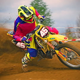 Nervous Driving by Marco Bertamé - Sports & Fitness Motorsports ( bike, motocross, clump, dust, acceleration, motorcycle, pink, yellow, race, competition, , mood factory, color, lighting, moods, colorful, light, bulbs, mood-lites )