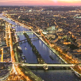 From Top of Eiffel by Achintya Guchhait - City,  Street & Park  Night