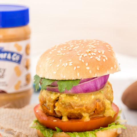 Peanut Butter Sweet Potato Lentil Burgers