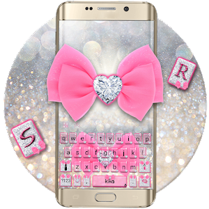Pink Silver Luxury Bow Keyboard Theme