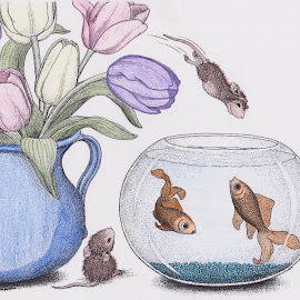 House Mouse Diving In.... by Melanie Goins - Illustration Cartoons & Characters ( swimming, fish, mice, playful, fun )