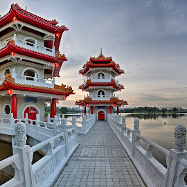 Twins Pagoda by Daniel Quek - Buildings & Architecture Statues & Monuments ( chinesegarden, park, pagoda, midautumn, twins, singapore )