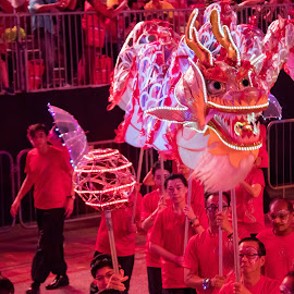 2018 Chingay Dragon Dance by Lye Danny - City,  Street & Park  Night