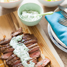 Grilled Flank Steak with Chimichurri Butter
