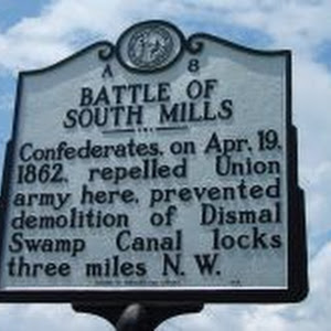 Confederates, on Apr. 19, 1862, repelled Union army here, prevented demolition of Dismal Swamp Canal locks three miles N.W.Plaque via North Carolina Highway Historical Marker Program, and is used ...