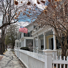 by Judy Laliberte - Novices Only Landscapes ( clouds, picket fence, american flag )