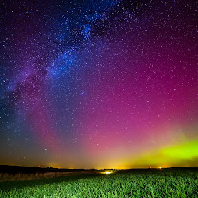 Night Lights by Eric Anderson - Landscapes Starscapes ( lights, farm, iowa, sky, stars, aurora, night, space, landscape, milky way )