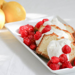 Lemon Mascarpone Pound Cake with Raspberry Sauce #FWCon