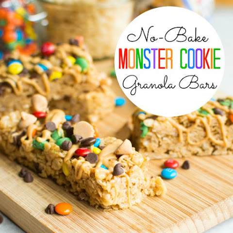 No-Bake Monster Cookie Granola Bars