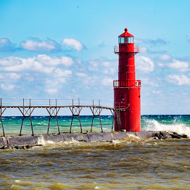 Lake Michigan Waters by John Kehoe - Buildings & Architecture Bridges & Suspended Structures ( clouds, shore, michigan, sky, algoma, waves, lighthouse, pier, lake )