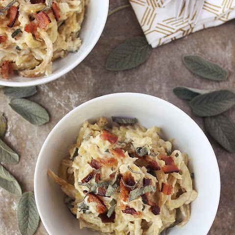 "Sweet Potato Noodles with Sage ""Cream"" Sauce (Gluten-free and Dairy-free with Vegan Option)"
