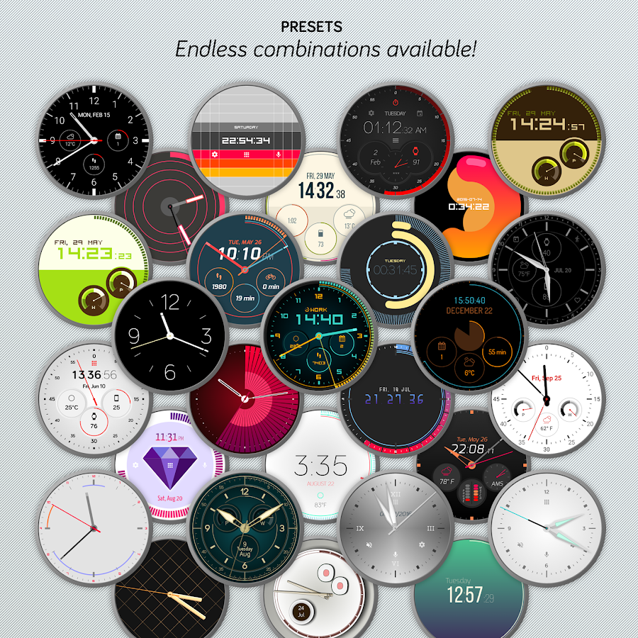 Pujie Black Android Wear Watch Face Designer Screenshot