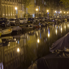 Canal by Bim Bom - City,  Street & Park  Street Scenes ( amsterdam mokum canal water night reflections cars boats lights lamps lanterns, night, lights, , city at night, street at night, park at night, nightlife, night life, nighttime in the city )