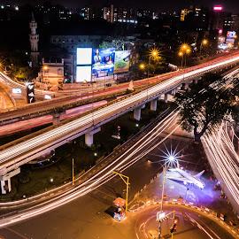 City + Lights by Pinkesh Modi - City,  Street & Park  Night ( click, cityscape, shot, city, lights, story, tree, night photography, night life, bikes, cars, india, long exposure, vehicles, bridges, light, helicopter, structure, aeroplane, nightscape, lighting, headlights, night, bridge, slow shutter )